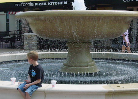 Fountain in the inner courtyard at SouthPark Mall