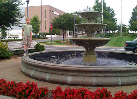 Fountain in front of the main entrance to SouthPark Mall
