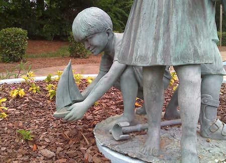 Sculpture of Children Playing in a Fountain at United Cerebral Palsy Center