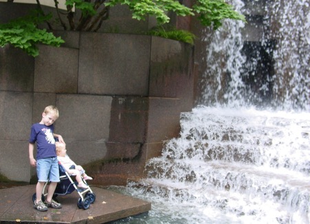 Ben and Jessie at the Waterfall Fountain